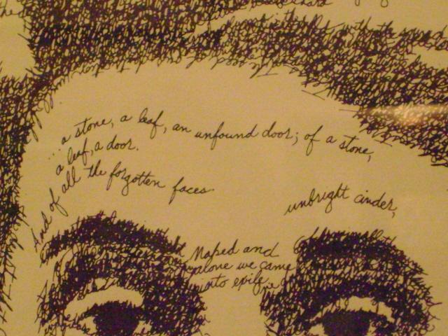"""Detail of John Sobel's """"Thomas Wolfe as Look Homeward, Angel""""."""